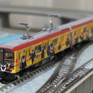 熊本電気鉄道01形 01-135+01-635(くまモンラッピング・イエロー)