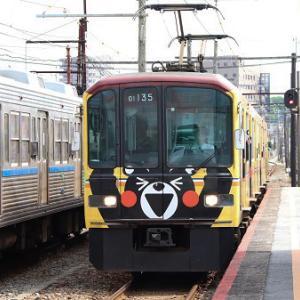 熊本電気鉄道01形 01-135+01-635(くまモンラッピング・イエロー)  実車編