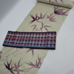 笹文様の綿絽浴衣