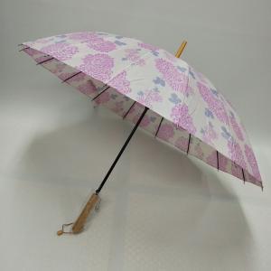 菊模様の傘で梅雨を乗り切る