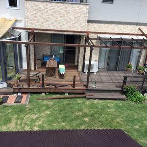 ウッドデッキ屋根DIY