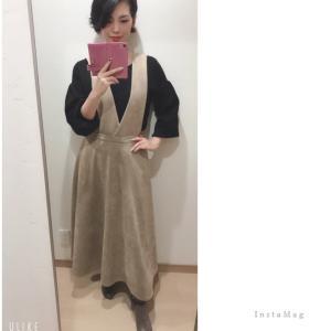 ★ フェイクスエードでサロペットスカート♡