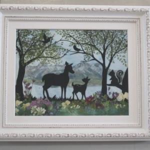 森の動物・鹿の親子と・・(押し花)