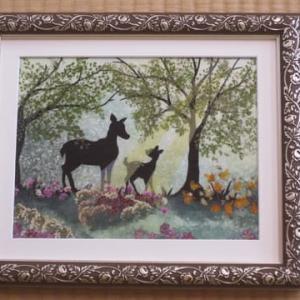 森の動物・鹿の親子・2作品(押し花)
