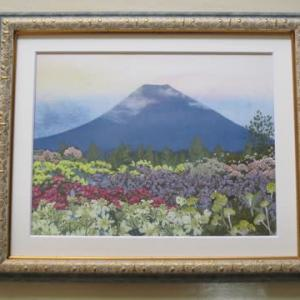 富士山と花畑(押し花)