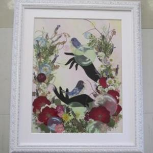小鳥とシルエット(押し花)