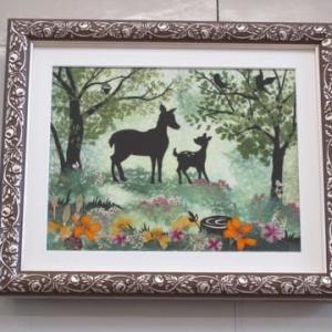 森の動物シルエット(押し花)