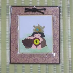 金太郎のミニ色紙(押し花)