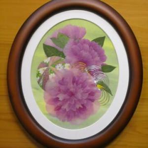 芍薬の楕円額(押し花)