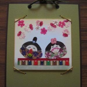 ハマグリ型のお雛さま(押し花)