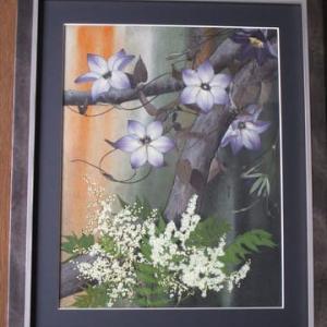 クレマチスと葡萄の木の皮(押し花)