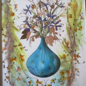 アルコールインクアートと押し花のコラボ