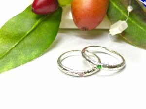 グリーンガーネットと桜ダイヤモンド