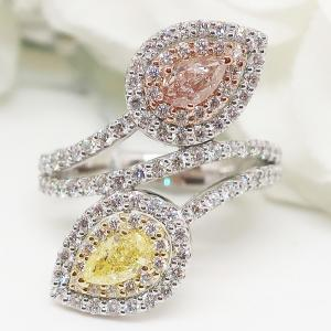 ファンシーピンクダイヤモンド&ファンシーイエローダイヤモンドのリング