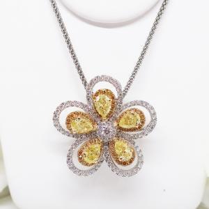 Summer Sale 高貴な輝きイエローダイヤモンドのペンダントネックレス