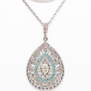 Summer Sale 希少なパライバトルマリンを施したダイヤモンドのペンダントネックレス