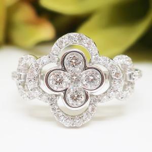 Summer Sale 極上の細工が施された可憐なクローバーモチーフのダイヤモンドリング