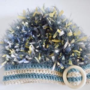 アイボリー×ブルーグレー バックル帽子