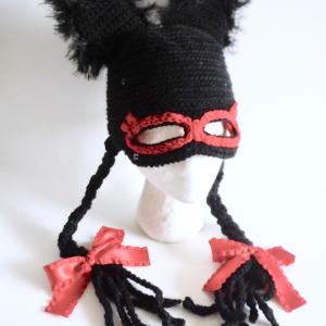 オーダーメイド 赤いリボンの三つ編み帽子