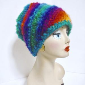 虹色ニット帽