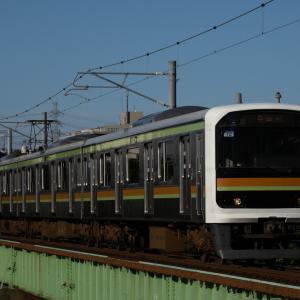 八高線209系3100番台 西日射す浅川にて