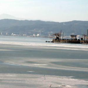 冬の諏訪湖の風景