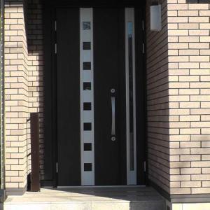 黒っぽい玄関ドアの内側がカビだらけになっていた