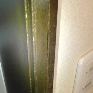浴室ドアの木枠が剥げていたので塗装