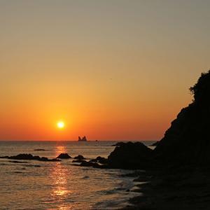 天草 須賀無田海岸の夕陽