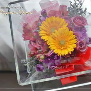 記念のお花、鮮やかに残ります
