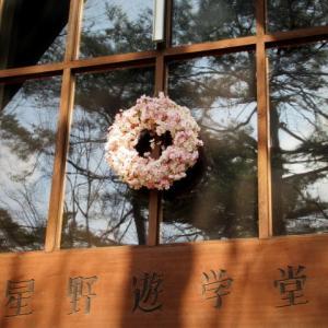 軽井沢高原教会 * 4月の桜のリースとフラワーウォール♪