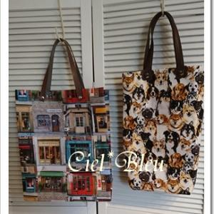 布で作るショップ袋風のバッグ*自宅教室生徒様作品