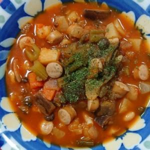 具だくさんのトマトスープ@おうち