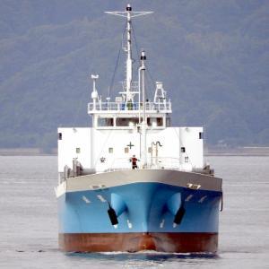 【船名・鯉城・貨物船】が宝町埠頭に入港中。
