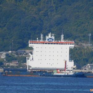 呉港の沖合にポツンと見えるコンテナ船のブリッジが?。