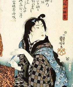 歌川国芳 「縞揃女弁慶」