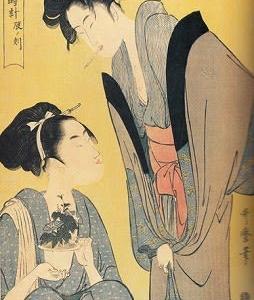 喜多川歌麿  娘日時計