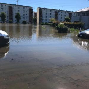 1階が水浸しで断水した県営東坂戸団地へ深谷けんじ県議と柴田文子市議が