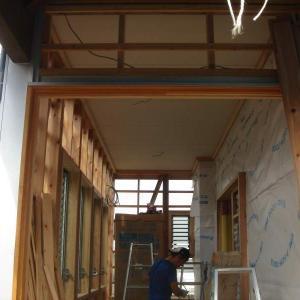 外装工事11/ガレージ&物干室天井・ケイ酸カルシウム板貼り