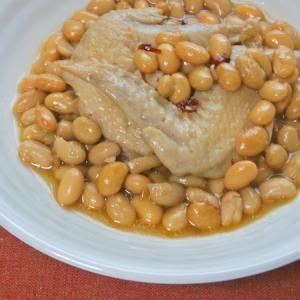 簡単、減塩、作り置き〜大豆と手羽先のピリ辛麺つゆ煮。