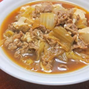サッと煮るだけ〜簡単おつまみおかず!たっぷり白菜の肉豆腐。