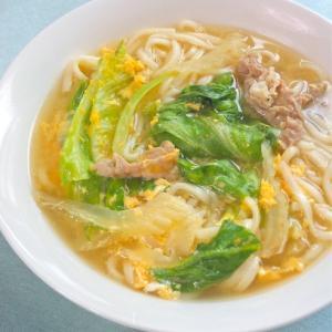 サッパリ&減塩ヘルシー夏麺〜レタスとセロリの卵とじ肉うどん。