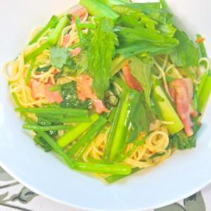 おうちで出来るシェフの味〜青みずとうるいで山菜ペペロンチーノ。
