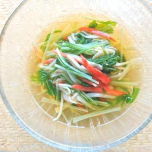 簡単5分であと一品!冷やして美味しい〜水菜とカニかまの煮浸し。