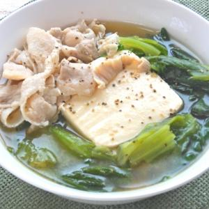 サッパリ!が美味しい〜レタスと豆腐と豚しゃぶのスープごはん。