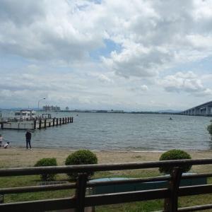 琵琶湖を眺めながらの鮭トロ丼