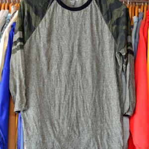 t453/袖迷彩プリント!ラグラン 七分丈Tシャツ 新品未使用 サイズS