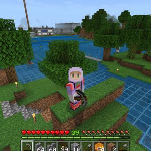 地上も慌てて整地?湖底の地下都市は出口が少なかった?!(^_^;)(Minecraft,Xbox One)