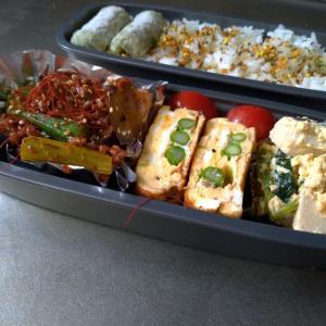 茄子とオクラの味噌ケチャ炒め弁当~