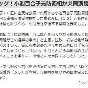 小池百合子都知事が出馬表明。自民党のネット監視創始者、日本会議国会議員懇談会の副会長、核武装論者、関東大震災での朝鮮人虐殺否定、幸福実現党と選挙協力。こんな極右政治家を首都の知事に再びしてはダメだ。